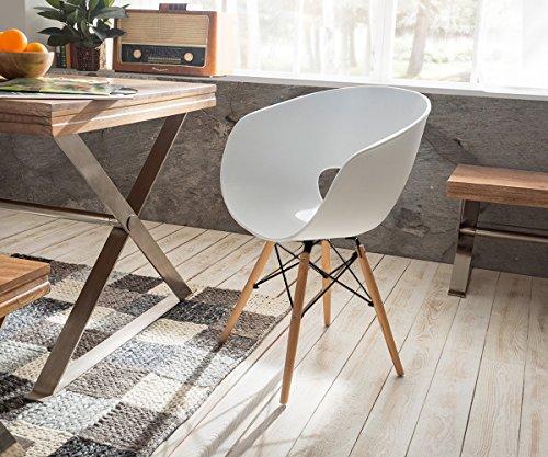 designstuhl ofrael weiss matt massivholz mit armlehnen esszimmerstuhl esszimmerst. Black Bedroom Furniture Sets. Home Design Ideas