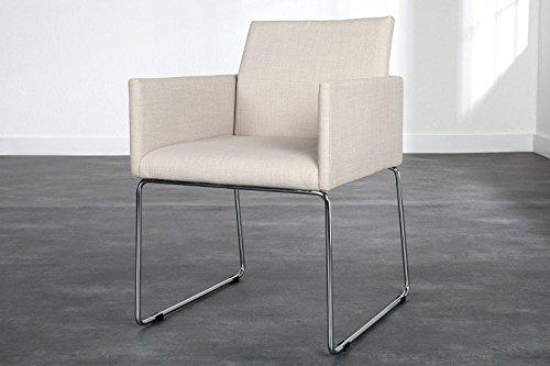 DuNord Design Stuhl Esszimmerstuhl MARCO Strukturstoff beige Design Küchenstuhl