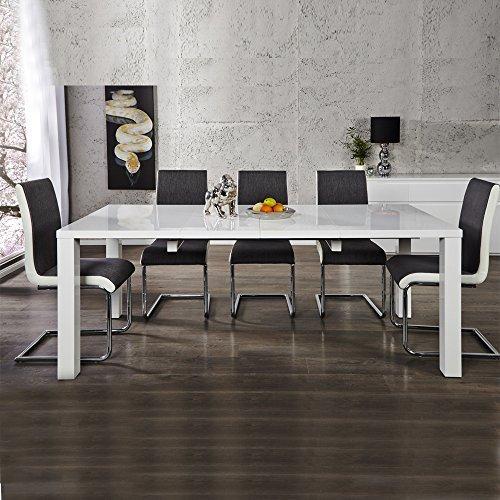 Esstisch Esszimmertisch STOCKHOLM, hochglanz weiß, 120/160/200cm ausziehbar