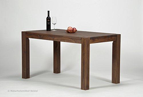 Esstisch ,,Rio Bonito,, 140x80cm, Pinie Massivholz, geölt und gewachst, Tisch Farbton Cognac braun, Optional: passende Bänke und Ansteckplatten