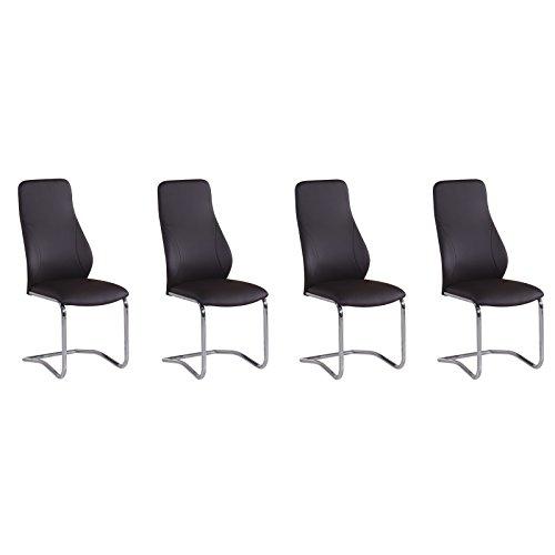 Esszimmerstühle von MACO Freischwinger Chrom Kunstleder dunkelbraun 4er Set