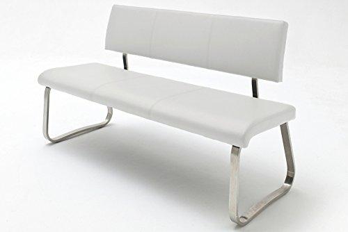 Gepolsterte Küchenbank Archie aus Kunstleder Größe: 86 cm H x 155 cm B x 59 cm T, Polsterfarbe: Weiß