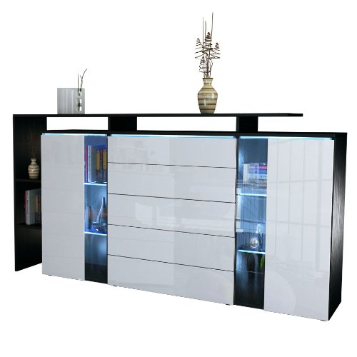 highboard sideboard lissabon in schwarz matt wei hochglanz esszimmerst hle. Black Bedroom Furniture Sets. Home Design Ideas