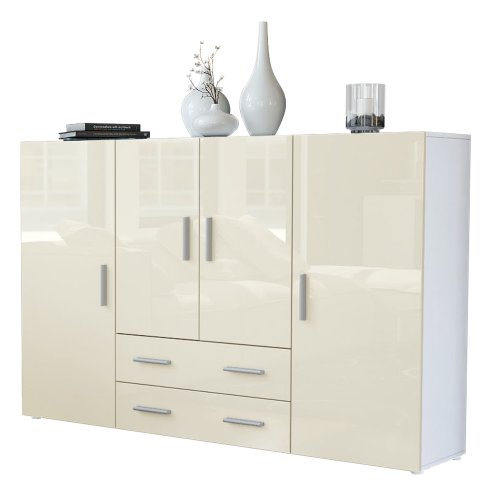 highboard sideboard nora in wei creme hochglanz. Black Bedroom Furniture Sets. Home Design Ideas
