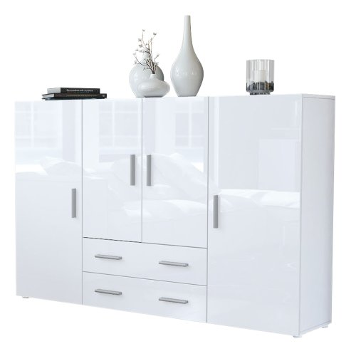 Highboard Sideboard Nora in Weiß / Weiß Hochglanz