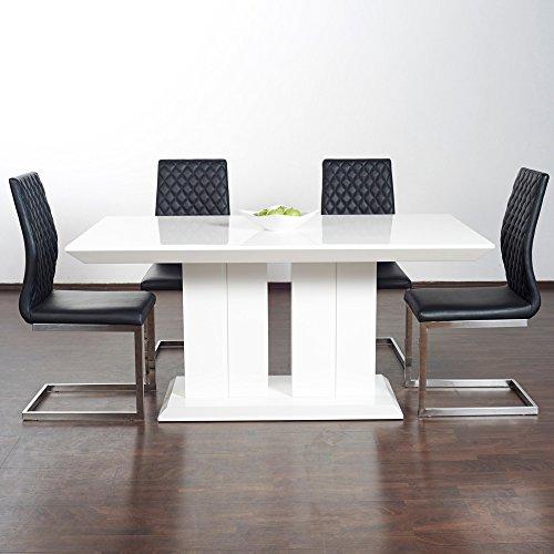 Hochglanz Esstisch Tisch MARBELLA 140x80cm Lack Weiss Säulentisch