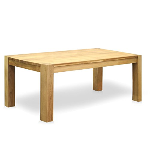 Jellywood® Esstisch MILANO in Eiche Massivholz 200 x 100 cm Tisch, Farbton Natur, Oberfläche geölt, 12 x 12 cm solide Beine durchgestossen, geschwungene Kante