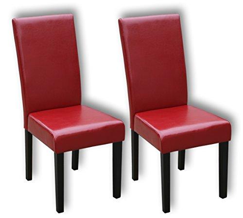 KMH®, 2er Set Esszimmerstühle mit rotem Kunstlederbezug (#201734)
