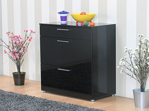 kommode infiniti sideboard schubladen flur schrank m bel hochglanz schwarz esszimmerst. Black Bedroom Furniture Sets. Home Design Ideas