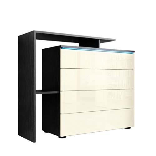 kommode sideboard lissabon v2 in schwarz creme hochglanz esszimmerst. Black Bedroom Furniture Sets. Home Design Ideas