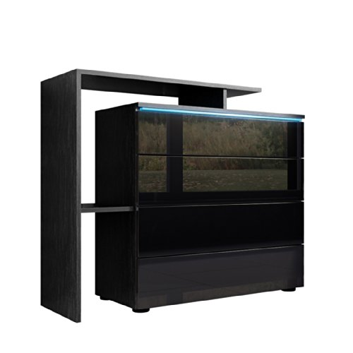 kommode sideboard lissabon v2 in schwarz schwarz hochglanz esszimmerst. Black Bedroom Furniture Sets. Home Design Ideas