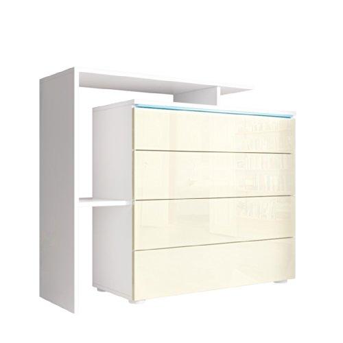 Kommode Sideboard Lissabon V2 in Weiß / Creme Hochglanz