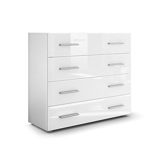 Kommode Sideboard Pavos in Weiß matt / Weiß Hochglanz
