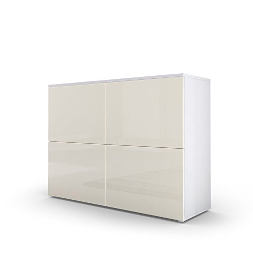 kommode sideboard rova in wei matt creme hochglanz. Black Bedroom Furniture Sets. Home Design Ideas