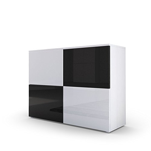 Kommode Sideboard Rova in Weiß matt / Weiß Hochglanz / Schwarz Hochglanz