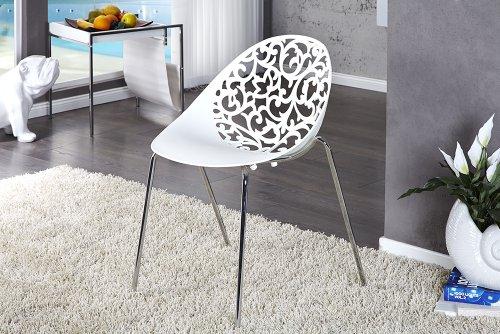 Kunstvoller Design Stuhl FLORA weiss Esszimmerstuhl