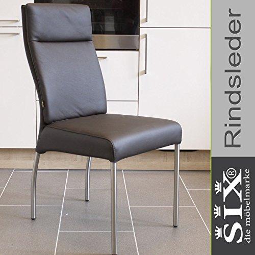 Lederstuhl Stuhl Gatto Rindsleder   Besucherstuhl Leder Stuhl Stühle Braun