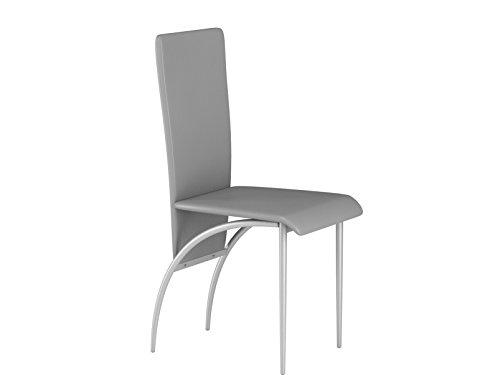 LifeStyleDesign 6620162 Stuhl Monique Doppelpack, Gestell Metall lackiert, PU Leder, 96 x 52 x 43 cm, grau