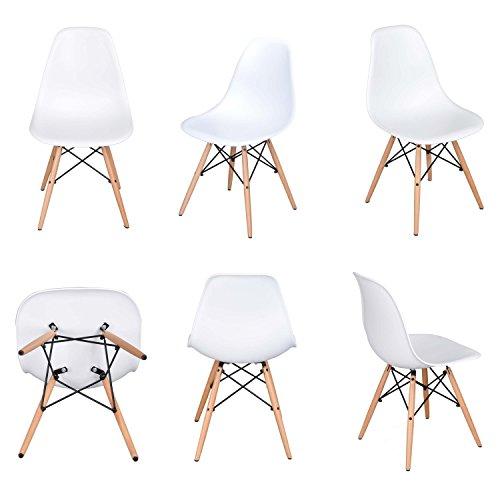 Lifetree Esszimmerstühle ohne Armlehne Eiffel Designerstuhl 6er Set weiß