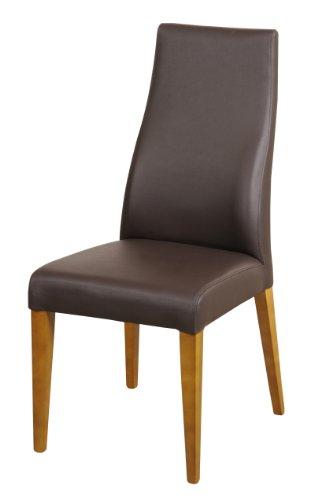 SAM® Echtleder-Stuhl Björn, Polster-Stuhl, Leder-Farbe braun, Bein-Farbe Eiche massiv, Esszimmer Stuhl aus Dick-Leder, Design-Stuhl mit Rückenlehne leicht geschwungen