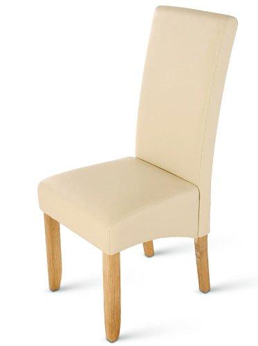 SAM® Esszimmerstuhl Bozen in creme mit eichefarbenen Beinen aus Pinienholz, Stuhl mit SAMOLUX®-Bezug, angenehme Polsterung, pflegeleichter Stuhl mit geschwungener Rückenlehne
