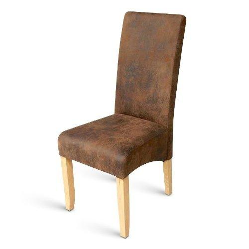 SAM® Esszimmerstuhl Sergio in braun mit Stoffbezug in Wildlederoptik, Stuhl mit SAMOLUX®-Bezug, Beine in buche, angenehme Polsterung, pflegeleichter Stuhl mit geschwungener Rückenlehne