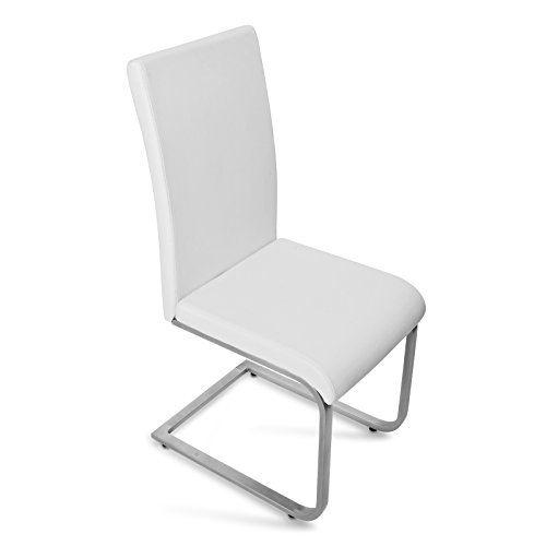 SAM® Exklusive Design Polsterstühle Peter 31 6er Set in weiß mit edelstahlfarbenen, pulverbeschichtetem Untergestell Lieferung zerlegt mit Paketdienst