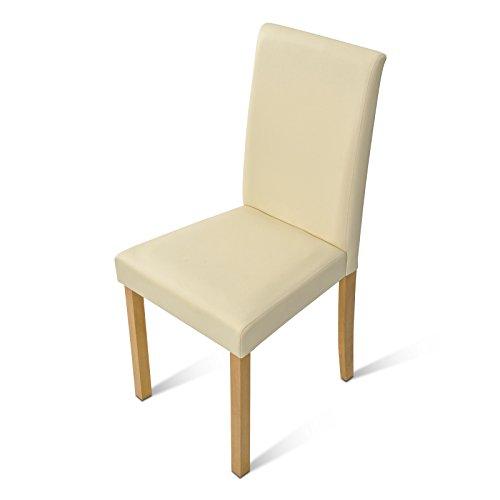 SAM® Polster-Stuhl Billi, Esszimmer-Stuhl mit Lederimitat in creme, massive Holzbeine in Buche, Design-Stuhl für Küche und Esszimmer