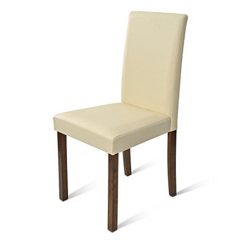 SAM® Polster-Stuhl Billi, Esszimmer-Stuhl mit Lederimitat in creme, massive Holzbeine in kolonialfarben, Design-Stuhl für Küche und Esszimmer