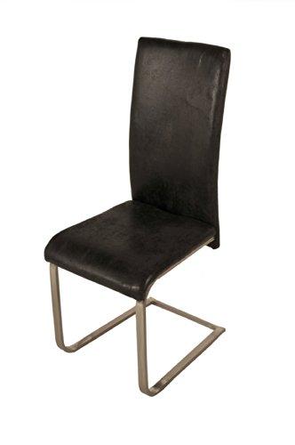 SAM® Polster Stuhl Freischwinger JULIA in grauer Wildlederoptik, komplett mit Stoff bezogen, chromfarbene Edelstahlfüße, angenehme Polsterung, hohe Rückenlehne für optimalen Sitzkomfort