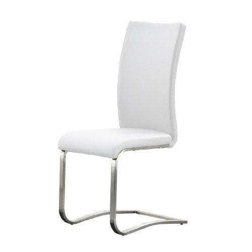 Schwinger Arco 2er Set - Gestell: Edelstahl - Bezug: Echtleder weiß - Maße B/H/T: ca. 43x103x52 cm