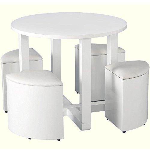 Seconique Charisma Esstisch Stowaway mit 4 Stühlen, Weiß