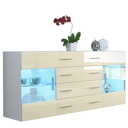 sideboard kommode bari v2 in wei creme hochglanz 0 esszimmerst. Black Bedroom Furniture Sets. Home Design Ideas