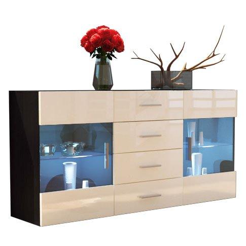 Sideboard Kommode Bari in Schwarz / Creme Hochglanz