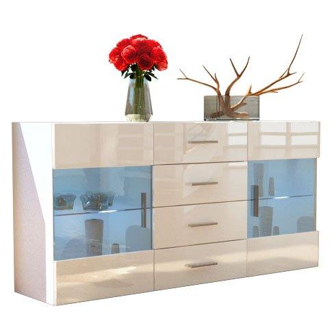 Sideboard Kommode Bari in Weiß / Creme Hochglanz