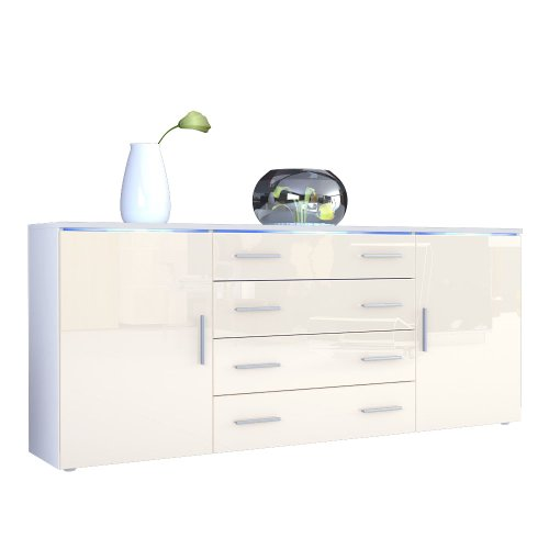sideboard kommode faro v2 in wei creme hochglanz. Black Bedroom Furniture Sets. Home Design Ideas