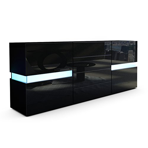 sideboard kommode flow in schwarz matt schwarz hochglanz inkl led beleuchtung. Black Bedroom Furniture Sets. Home Design Ideas