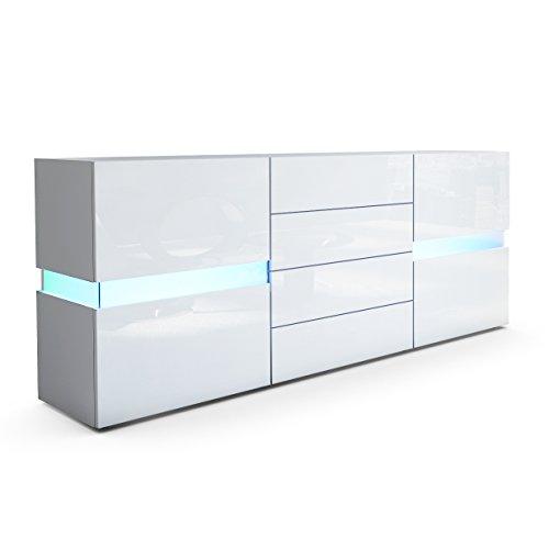 Sideboard Kommode Flow in Weiß matt / Weiß Hochglanz inkl. LED Beleuchtung