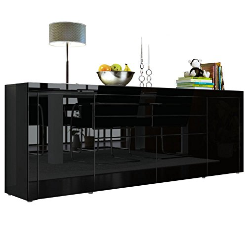 sideboard kommode la paz v2 in schwarz hochglanz schwarz. Black Bedroom Furniture Sets. Home Design Ideas