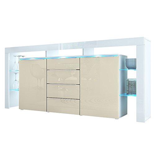 Sideboard Kommode Lima Nova in Weiß / Creme Hochglanz