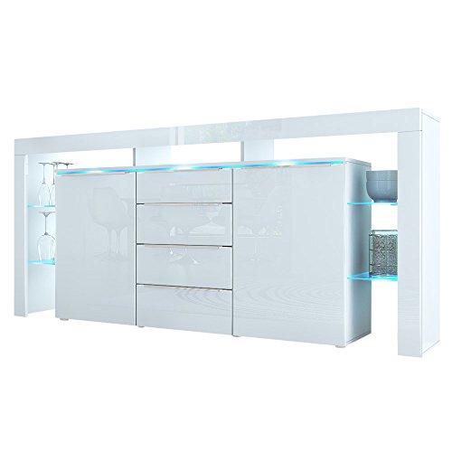 Sideboard Kommode Lima Nova in Weiß / Weiß Hochglanz