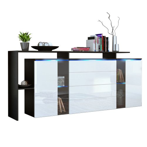 sideboard kommode lissabon v2 in schwarz wei hochglanz esszimmerst hle. Black Bedroom Furniture Sets. Home Design Ideas