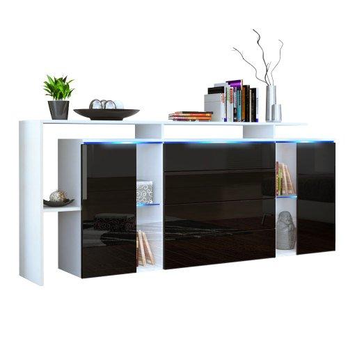 Sideboard Kommode Lissabon V2 in Weiß matt / Schwarz Hochglanz