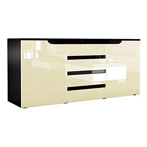 sideboard kommode sylt in schwarz creme hochglanz mit absetzungen in schwarz esszimmerst. Black Bedroom Furniture Sets. Home Design Ideas
