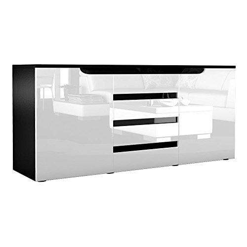 Sideboard Kommode Sylt in Schwarz / Weiß Hochglanz mit Absetzungen in Schwarz