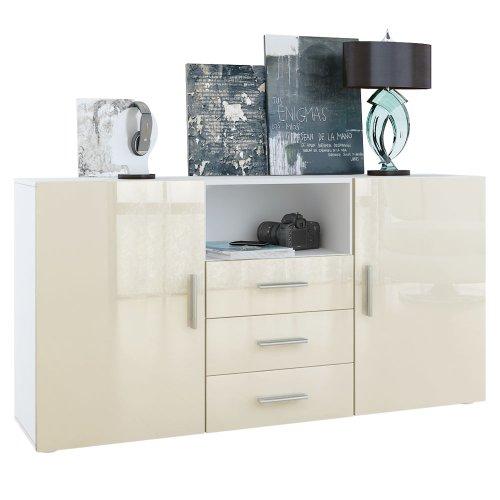 Sideboard Skadu in Weiß / Creme Hochglanz