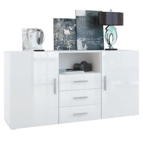 Sideboard Skadu in Weiß / Weiß Hochglanz