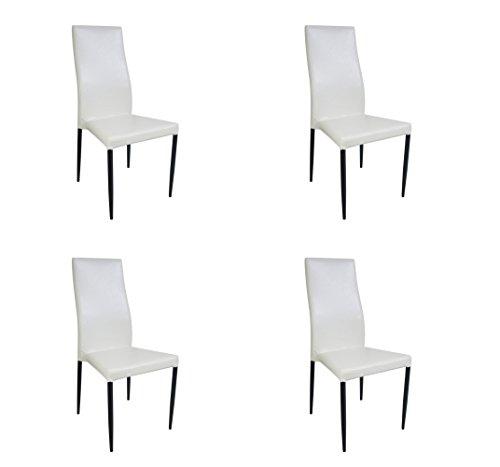 Stuhl Stuhlgruppe Esszimmerstuhl Wohnzimmerstuhl 2/4/6er A-124 (4er Set, Weiß)