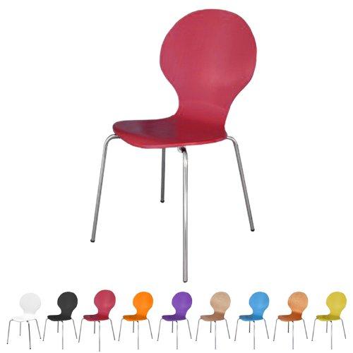 Stuhl stapelbar Design Klassiker Metall Holz - sehr belastbar - Rot