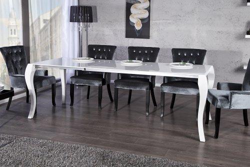 Stylischer Design Esstisch BAROCCO weiss hochglanz 170 - 230cm ausziehbar